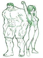 Hulk And his cousin by Marvsamune