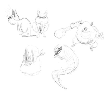 Monster Sketches 02 by TheDoodleOnThePage