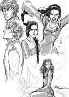 Nynaeve, Rand and Moiraine Sketch! - Wheel of Time by Myed89