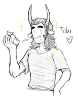 Sketch for Askthewerewolfprince - Tobi by SlimyScaledSpider
