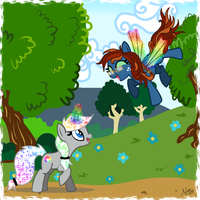 MLP OC's Prism and TT - Helping  a Friend by Kazziepones