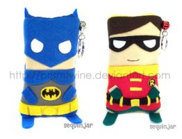 Batman and Robin phone cozies by prismtwine
