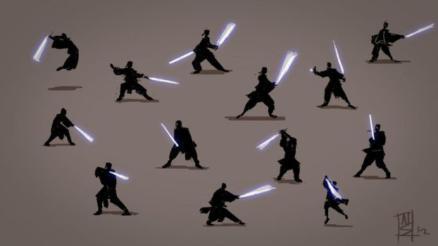 Silhouette Poses with Light Sabers by Niksibaksen