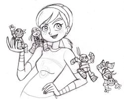 April with Chibi Turtles-Pencils by queenbean3