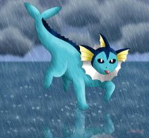 Vaporeon - Rainy Day by Rose-Beuty