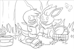 WIP Commission PMD picnic with friends by Phatmon66