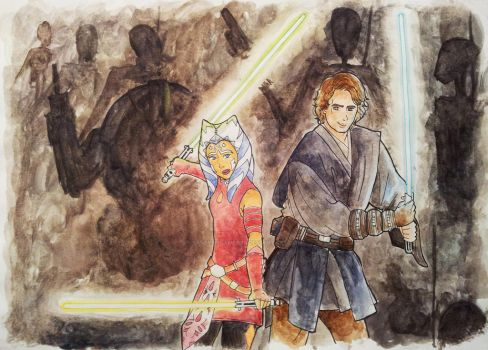 Ahsoka and Anakin by SassyDreamer95