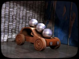 A car with 3 balls by H-o-t-G-o-d