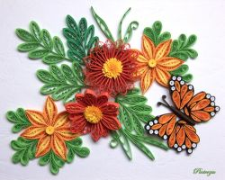 Quilled flowers with butterfly by pinterzsu