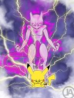 Pikachu and Mewtwo - Smash Bros Poster by almightyminiman