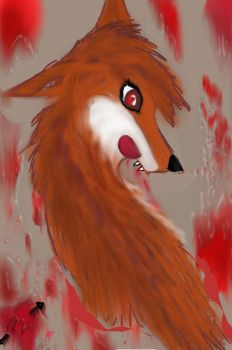 Bloody fox by foxwithwings13
