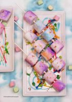 Watercolor Graffiti Marshmallow/Edible Gold Leaf by theresahelmer