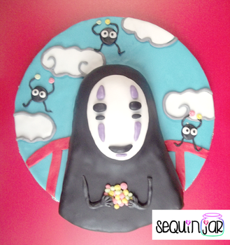 Spirited Away No face cake by sequinjar