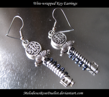 Wire-Wrapped Key Earrings by MelodiousRoseDuelist