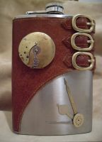 Steampunk Flask with Locket by Justenjoyinglife