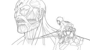 Eren y Titan Colosal by SrMoro