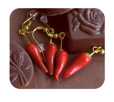 red chili pepper earrings by BadgersBakery