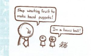 Hotel Doodle-Fruit Puppets by AK-Is-Harmless