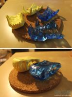 SOLD: Yellow+translucent blue canine jawsets by yeep-yeep