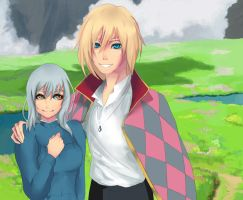 Howl and Sophie Doodle by InkAme