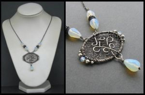 silver and opalite necklace by annie-jewelry