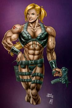 Muscle Badass Girl  color by LovBlondGirlMuscled