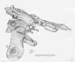 Octopi class fighter: sketch by Richard-Daborn