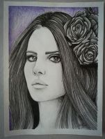 Lana Del Rey pencil portrait by marretiina