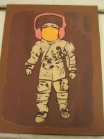 Vintage Spaceman - Painting by Hutzon