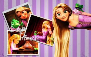 Rapunzel and Pascal Wallpaper by HeartlessMia