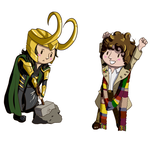 Chibi examples- Loki and Tom Baker by KirstinJHill