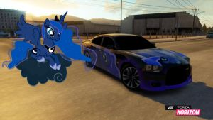 Luna and her Dodge Charger by EquestianRacer