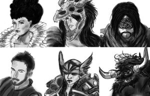 Adventuring party portraits by fosspathei