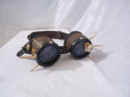 Brown metal spiked steam punk goggles by Serata