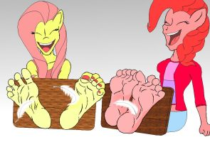 ReQuest -  Fluttershy and Pinkie Pie Tickled by DrkNite007
