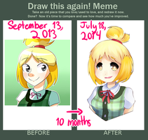 Draw this Again Meme- Isabelle by Toukoni