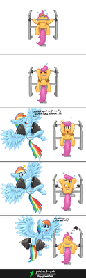 Collab - Benching with Dashie by itsjaytimestwo