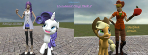 Humanoid Pony Pack: Rarity and Applejack(With fix) by Noerusan
