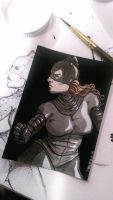 Catwoman trading card by marcelinorodriguez