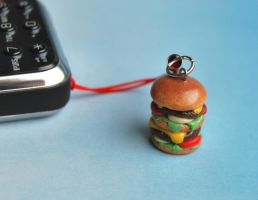 Cheeseburger cell phone charm by Madizzo