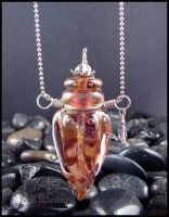 Lady of the Lotus - GlassLampwork Bottle Pendant by andromeda