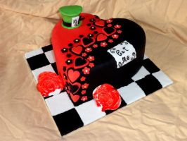 Alice in Wonderland Heart Cake 1 by redrockercakes
