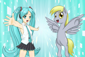 Miku and Derpy internet idol! by Aethersly