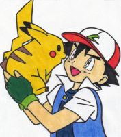 Pikachu and Ash by cheshirecat-smile