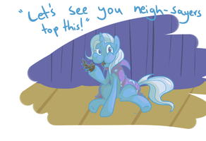 Trixie eating a pinecone by PonyGoggles