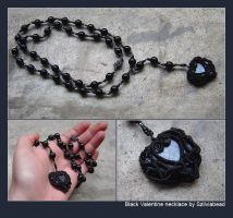 Black Valentine necklace by bodaszilvia