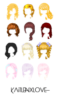 Custom and edited Hair pack ~ by kaitlenxlove