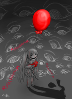 In a Rainy Town, the ballons dance with the devils by alex-la-eriza
