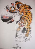 japanese tiger half sleeve by willowtreetattoos