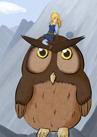 Lomadia and the giant Owl by MademoiselleMaple